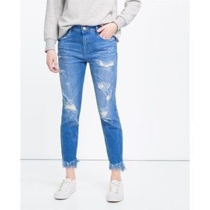 Zara Slouch Fringe Jeans Distressed Cropped